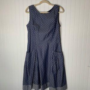eShakti blue polka dot sleeveless dress L 14